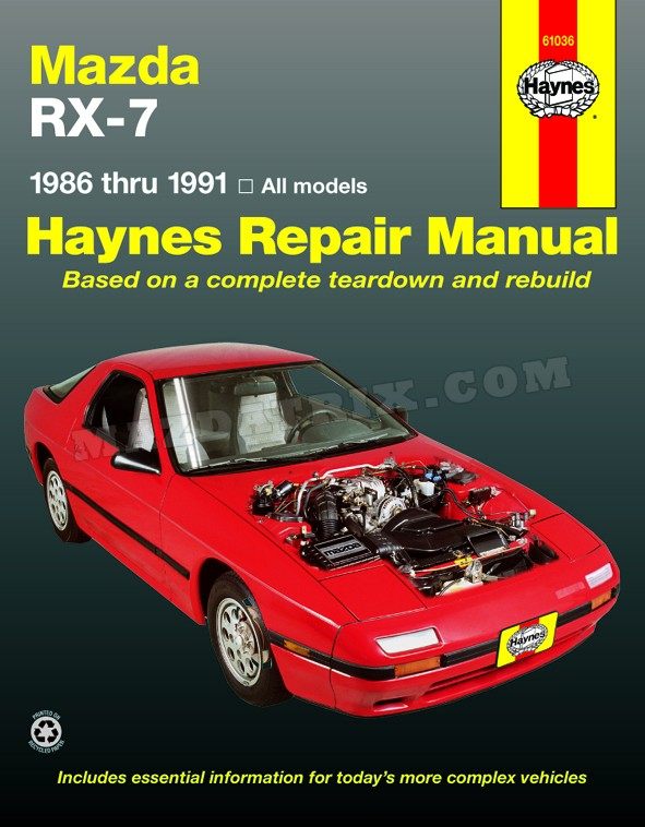 book haynes rx7, — nla — 86-91 shop manual